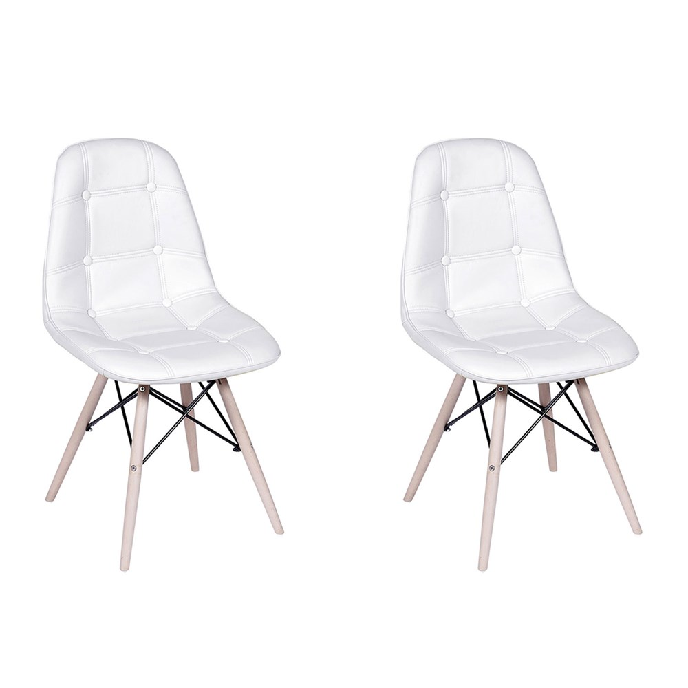 Conjunto com 2 Cadeiras Eames Botonê Base Eiffel de Madeira Branca
