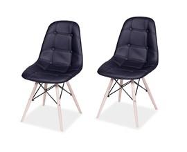 Conjunto com 2 Cadeiras Eames Botonê Base Eiffel de Madeira Preta