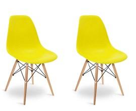 Conjunto com 2 Cadeiras Eames Eiffel com Base de Madeira Amarela Casa Aberta Brasil