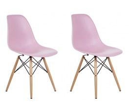 Conjunto com 2 Cadeiras Eames Eiffel com Base de Madeira Rosa Casa Aberta Brasil