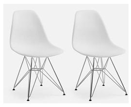 Conjunto Com 2 Cadeiras Eames Eiffel Com Pés Metálicos Branca Casa Aberta Brasil