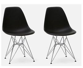 Conjunto Com 2 Cadeiras Eames Eiffel Com Pés Metálicos Preta Casa Aberta Brasil