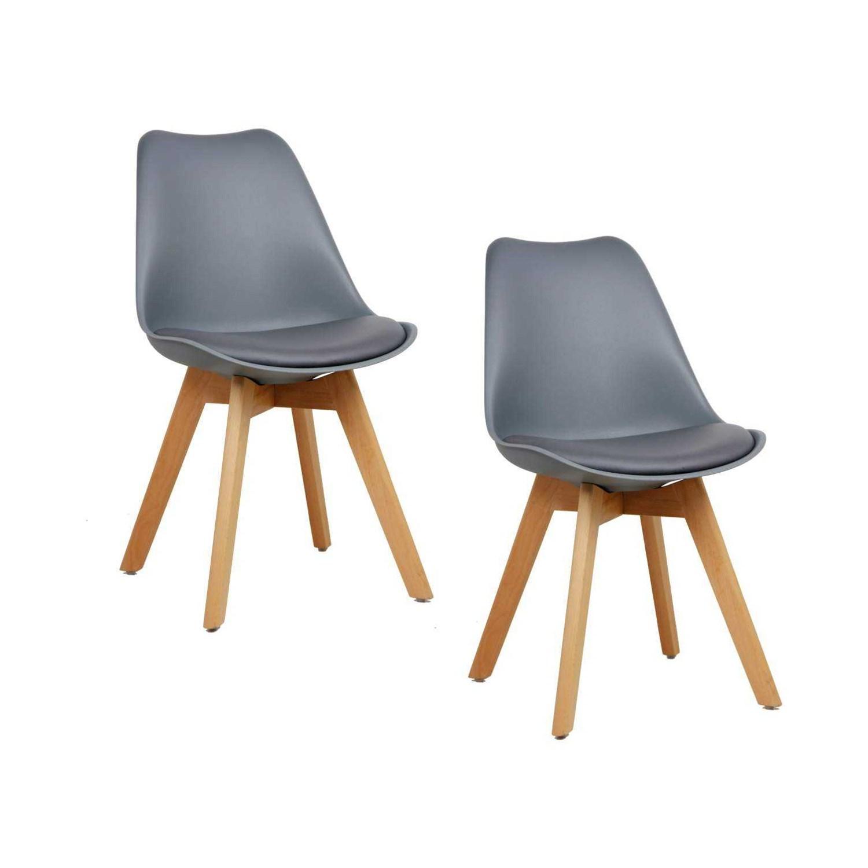 Conjunto com 2 Cadeiras Eames para Sala de Jantar Leda Cinza Base Madeira