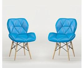 Conjunto com 2 Cadeiras Eiffel Slim Estofada Azul Notável