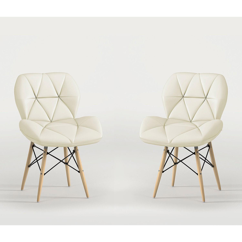 Conjunto com 2 Cadeiras Eiffel Slim Estofada Bege Notável