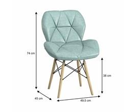 Conjunto com 2 Cadeiras Slim Eiffel Estofada Verde Água Base Madeira