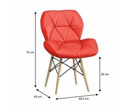 Conjunto com 2 Cadeiras Slim Eiffel Estofada Vermelha Base Madeira