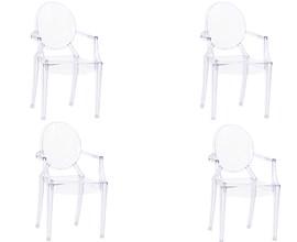 Conjunto Com 4 Cadeiras Acrílica Louis Ghost Com Braços Transparente Casa Aberta Brasil