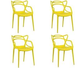 Conjunto com 4 Cadeiras Allegra Amarela Casa Aberta Brasil