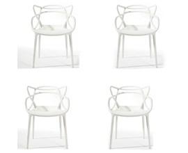 Conjunto com 4 Cadeiras Allegra Branca Casa Aberta Brasil
