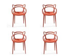 Conjunto com 4 Cadeiras Allegra Vermelha Casa Aberta Brasil