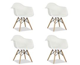 Conjunto com 4 Cadeiras Charles Eames com braço Branca