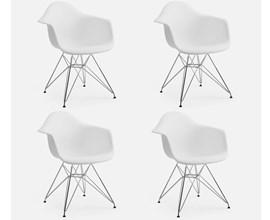 Conjunto com 4 Cadeiras Charles Eames com Braço e Pés Metálicos Branca Casa Aberta Brasil