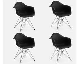 Conjunto com 4 Cadeiras Charles Eames com Braço e Pés Metálicos Preta Casa Aberta Brasil