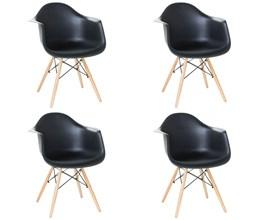 Conjunto com 4 Cadeiras Charles Eames com Braço Preta