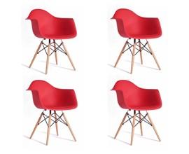 Conjunto com 4 Cadeiras Charles Eames com Braço Vermelha