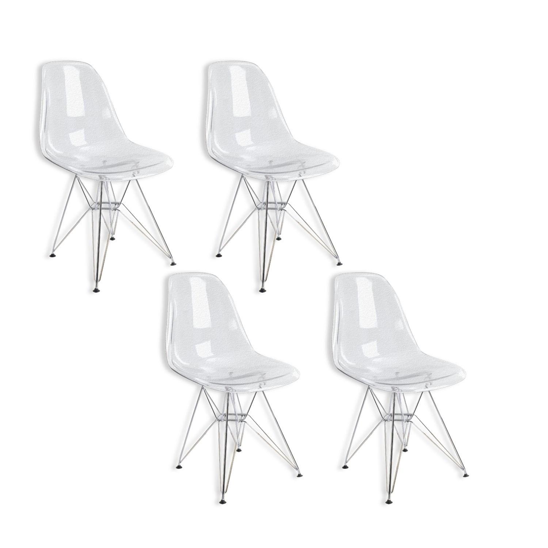 Conjunto com 4 Cadeiras Charles Eames Eiffel Policarbonato Transparente