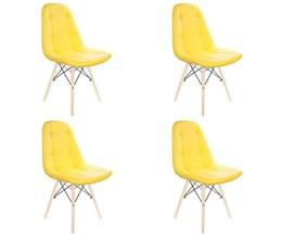 Conjunto com 4 Cadeiras Eames Botonê Base Eiffel de Madeira Amarela
