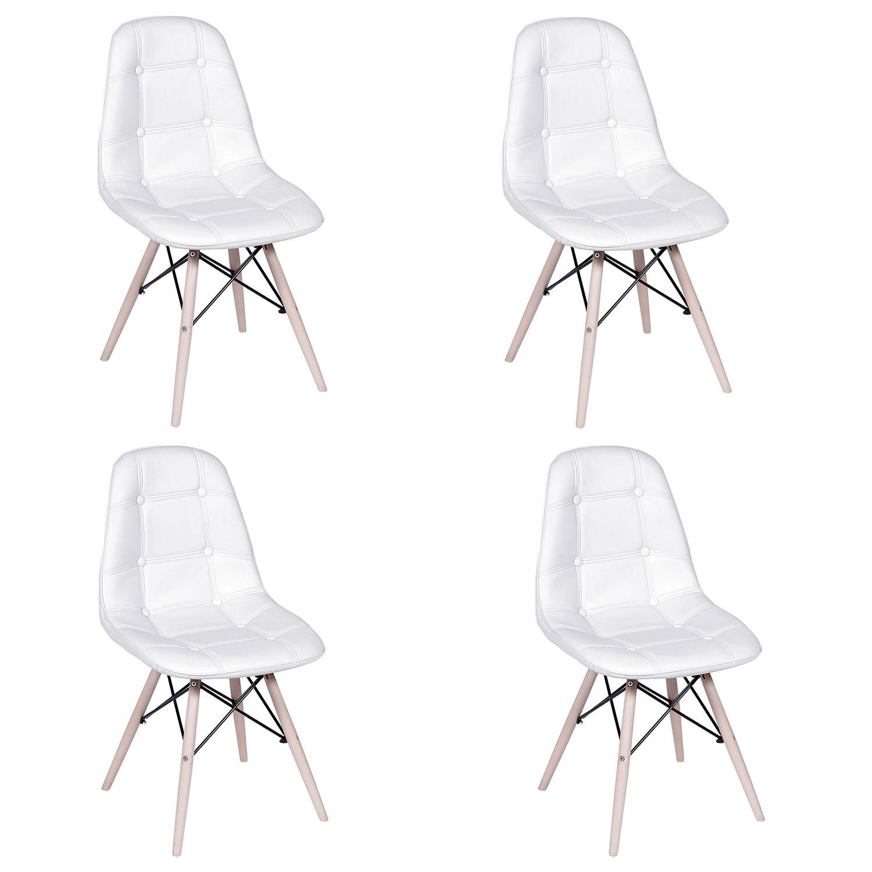 Conjunto com 4 Cadeiras Eames Botonê Base Eiffel de Madeira Branca
