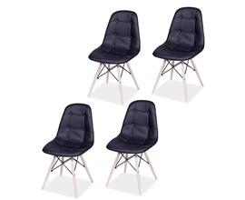 Conjunto com 4 Cadeiras Eames Botonê Base Eiffel de Madeira Preta