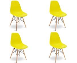 Conjunto com 4 Cadeiras Eames Eiffel com Base de Madeira Amarela Casa Aberta Brasil