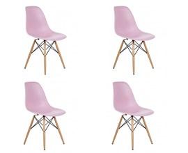 Conjunto com 4 Cadeiras Eames Eiffel com Base de Madeira Rosa Casa Aberta Brasil