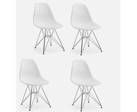 Conjunto Com 4 Cadeiras Eames Eiffel Com Pés Metálicos Branca Casa Aberta Brasil