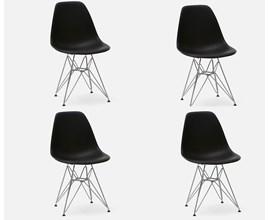 Conjunto Com 4 Cadeiras Eames Eiffel Com Pés Metálicos Preta Casa Aberta Brasil
