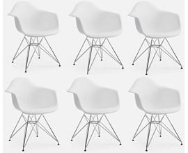 Conjunto com 6 Cadeiras Charles Eames com Braço e Pés Metálicos Branca Casa Aberta Brasil