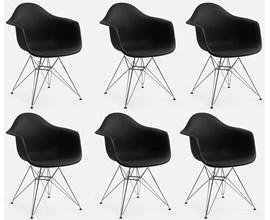 Conjunto com 6 Cadeiras Charles Eames com Braço e Pés Metálicos Preta Casa Aberta Brasil