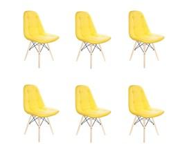 Conjunto com 6 Cadeiras Eames Botonê Base Eiffel de Madeira Amarela