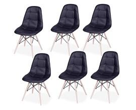 Conjunto com 6 Cadeiras Eames Botonê Base Eiffel de Madeira Preta