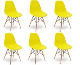 Conjunto com 6 Cadeiras Eames Eiffel com Base de Madeira Amarela Casa Aberta Brasil