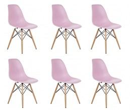 Conjunto Com 6 Cadeiras Eames Eiffel Com Base De Madeira Rosa Casa Aberta Brasil