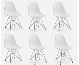 Conjunto Com 6 Cadeiras Eames Eiffel Com Pés Metálicos Branca Casa Aberta Brasil