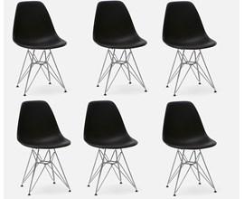 Conjunto Com 6 Cadeiras Eames Eiffel Com Pés Metálicos Preta Casa Aberta Brasil