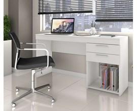 Conjunto com Mesa de Escritório Branca e Cadeira Eiffel Botonê Preta
