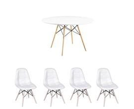 Conjunto de Mesa 1,00m Com 4 Cadeiras Botonê Branca