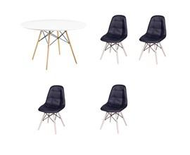 Conjunto de Mesa 1,00m Com 4 Cadeiras Botonê Preta