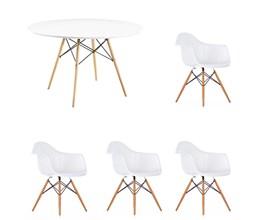Conjunto de Mesa 1,20m Com 4 Cadeiras Charles Eames Com Braço Branca Eiffel Branca