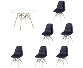Conjunto de Mesa 1,20m com 6 Cadeiras Botonê Preta Eiffel Branca
