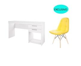 Conjunto de Mesa Branca com Cadeira Botonê Amarela Casa Aberta Brasil