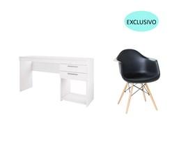 Conjunto de Mesa Branca com Cadeira Charles Eames Preta Casa Aberta Brasil