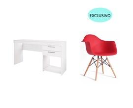 Conjunto de Mesa Branca com Cadeira Charles Eames Vermelha Casa Aberta Brasil