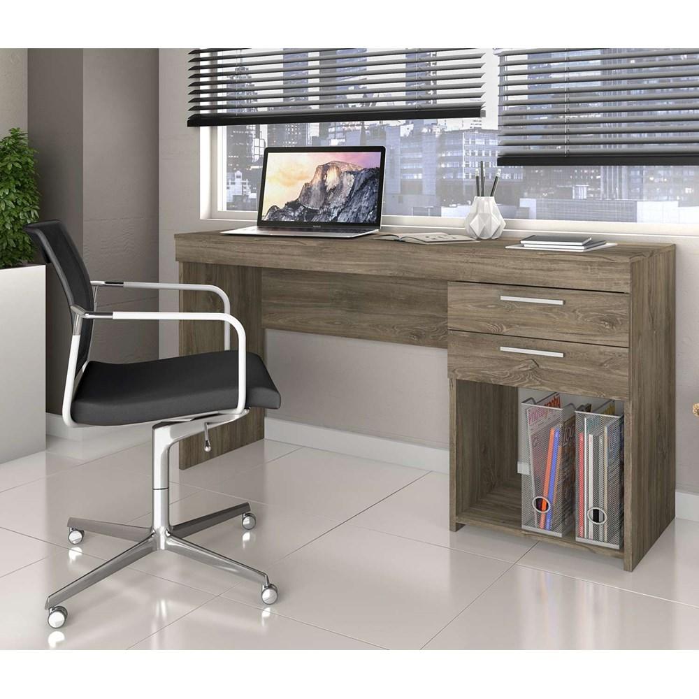 Conjunto de Mesa com Armário Canela e Cadeira Charles com Braço Branca
