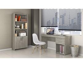 Conjunto de Mesa com Armário Carvalho e Cadeira Botonê Branca
