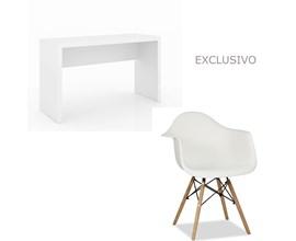 Conjunto de Mesa com Cadeira Branca Charles Eames Casa Aberta Brasil