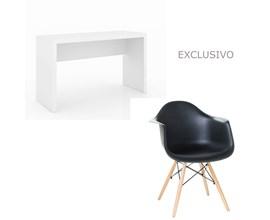 Conjunto De Mesa Com Cadeira Preta Charles Eames Casa Aberta Brasil