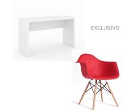 Conjunto De Mesa Com Cadeira Vermelha Charles Eames Casa Aberta Brasil