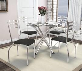 Conjunto de Mesa Cromada Volga com 4 Cadeiras Estofadas Portugal Assento Preto Kappesberg